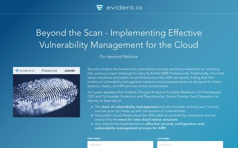 Screenshot of Landing Page evident.io - Implementing Effective Vulnerability Management for the Cloud - captured April 30, 2017