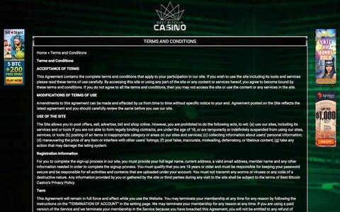 Screenshot of Terms Page bestbitcoincasino.com - Best Bitcoin Casino Terms and Conditions - captured June 1, 2017