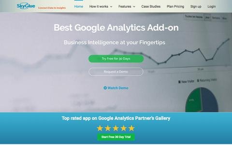 Screenshot of Home Page skyglue.com - Google Analytics event tracking automation, visitor tracking, raw data export, CRM integration - captured June 24, 2017