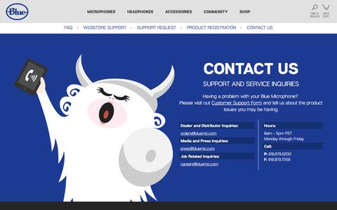 Screenshot of Contact Page bluemic.com - Blue Microphones - Contact - captured Jan. 19, 2017