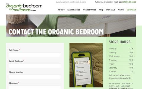 Screenshot of Contact Page theorganicbedroom.com - Contact The Organic Bedroom - captured Feb. 15, 2016