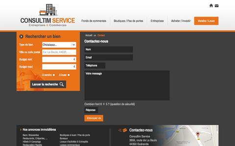 Screenshot of Contact Page consultim-service.com - Agence immobilière La Baule, ventes et locations commerces et immobilier d'entreprises. La Baule, Guérande - Consultim Service - captured Sept. 26, 2014