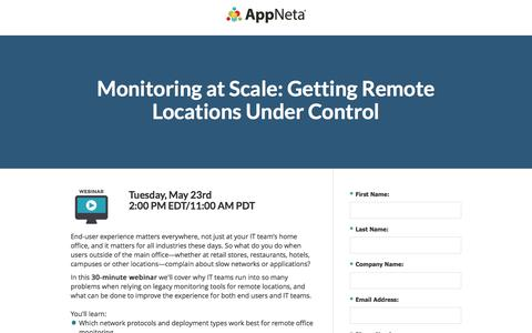 Screenshot of Landing Page appneta.com - Monitoring at Scale: Getting Remote Locations Under Control - captured May 19, 2017