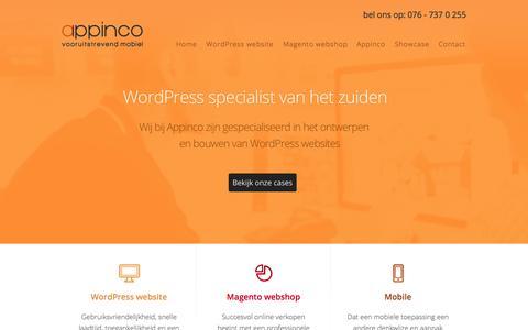 Screenshot of Home Page appinco.nl - WordPress websites & Magento webshops | Appinco - captured Sept. 30, 2014