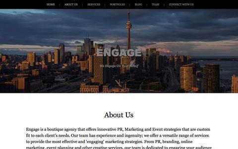 Screenshot of Home Page About Page engage-inc.ca - ENGAGE | We Engage On Your Behalf - captured Oct. 2, 2014