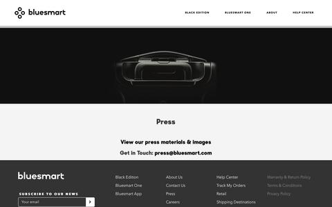 Screenshot of Press Page bluesmart.com - PR - captured July 29, 2016