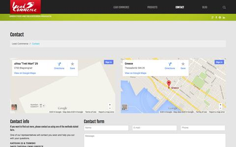 Screenshot of Contact Page lead-commerce.com - Contact     Lead Commerce - captured Sept. 29, 2014