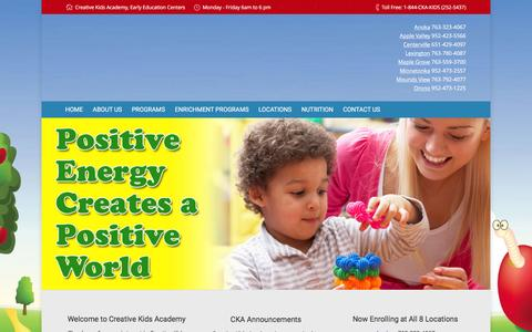 Screenshot of Home Page ckakids.com - Creative Kids Academy | Early childhood education centers - captured Feb. 1, 2016