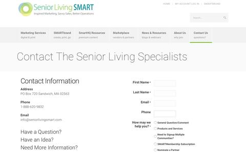 Screenshot of Contact Page seniorlivingsmart.com - Senior Living Specialists | Senior Living SMART - captured July 22, 2019