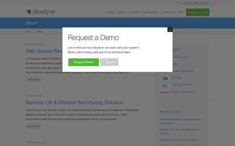 Screenshot of Press Page dexdyne.com - News - - captured Feb. 9, 2016