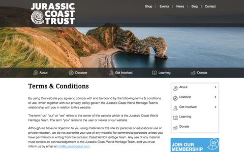 Screenshot of Terms Page jurassiccoast.org - Terms & Conditions - Jurassic Coast World Heritage Site - captured Sept. 22, 2018