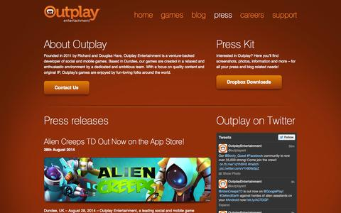 Screenshot of Press Page outplay.com - Press - Outplay Entertainment - captured Sept. 17, 2014