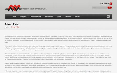 Screenshot of Privacy Page prpinc.com - Privacy Policy  |  Precision Resistive Products - captured Sept. 29, 2018