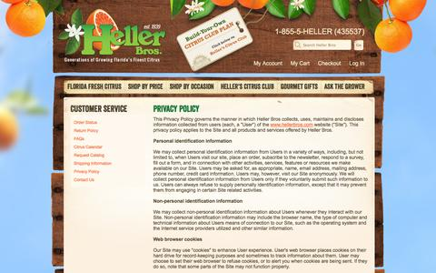Screenshot of Privacy Page hellerbros.com - Heller Bros | Privacy Policy - captured Sept. 29, 2014