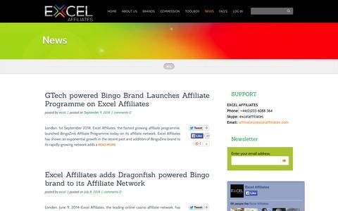 Screenshot of Press Page excelaffiliates.com - News - Excel Affiliates - captured Sept. 24, 2014