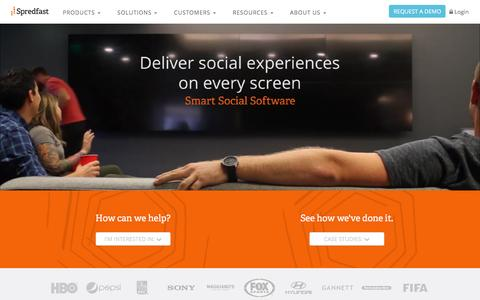 Screenshot of Home Page spredfast.com - Social Media Experience Management Software Platform | Spredfast - captured Oct. 27, 2015