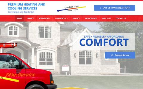Screenshot of Home Page comfortzoneservice.com - Heating And Cooling Orland Park | Air Conditioning Repair IL | Heater Repair 60462 - Comfort Zone Service - captured Oct. 6, 2015
