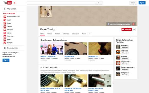 Screenshot of YouTube Page youtube.com - Victor Tronko  - YouTube - captured Oct. 23, 2014