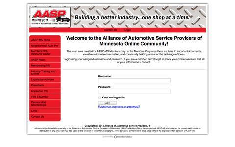 Screenshot of Login Page aaspmn.org - Alliance of Automotive Service Providers of Minnesota - captured Oct. 4, 2014