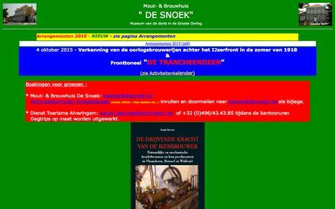 Screenshot of Home Page desnoek.be - Mout- & Brouwhuis De Snoek - captured Oct. 12, 2015