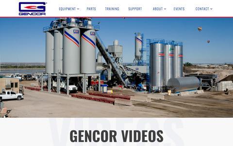 Screenshot of Press Page gencor.com - Construction Equipment Training Videos | Gencor Industries Equipment - captured Sept. 25, 2018