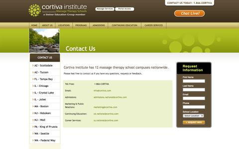 Screenshot of Contact Page cortiva.com - Contact Us - captured Oct. 3, 2014