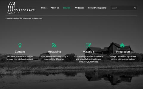 Screenshot of Services Page collegelake.com - Services | College Lake - captured Nov. 9, 2016