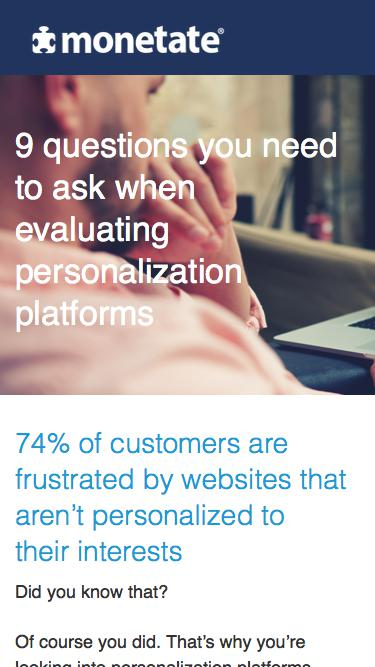 9 questions you need to ask when evaluating personalization platforms | Monetate Whitepaper