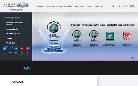Screenshot of FAQ Page arabbank.com - FAQs - captured July 30, 2018