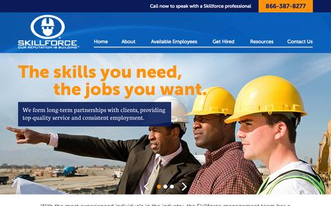 Screenshot of Home Page skillforce.com - Skillforce Construction Labor Providers | Construction Staffing in MD & TX | Hire Construction Craftsmen - captured Aug. 12, 2015