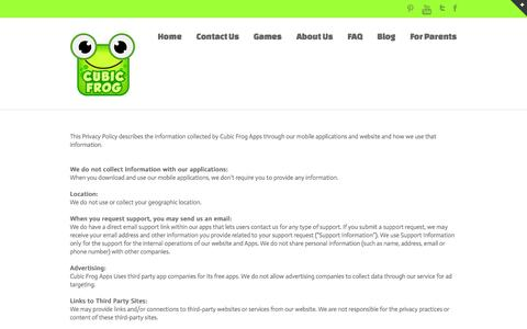 Screenshot of Privacy Page cubicfrog.com - Cubic Frog   –  Privacy Policy - captured Oct. 3, 2014