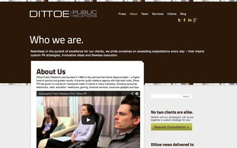 Screenshot of About Page dittoepr.com - Public Relations Agency | Dittoe PR - captured Oct. 5, 2014