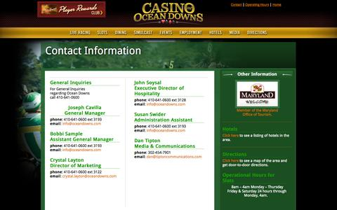 Screenshot of Contact Page oceandowns.com - Casino at Ocean Downs  - Live Horse Racing and Slots - captured Oct. 2, 2014