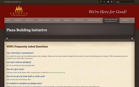 Screenshot of FAQ Page trinityumc.org - Frequently Asked Questions - captured Nov. 5, 2014