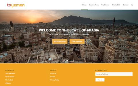 Screenshot of Home Page toyemen.com - toyemen | Jewel of Arabia - captured Feb. 25, 2016