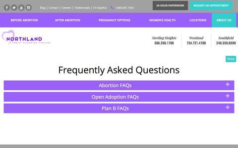 Screenshot of FAQ Page northlandfamilyplanning.com - FAQs | Northland Family Planning Centers - captured Oct. 22, 2017