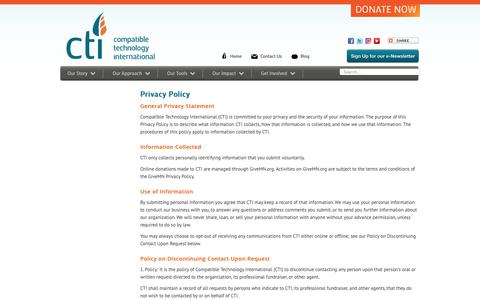 Screenshot of Privacy Page compatibletechnology.org - CTI - Privacy Policy - captured Sept. 28, 2018