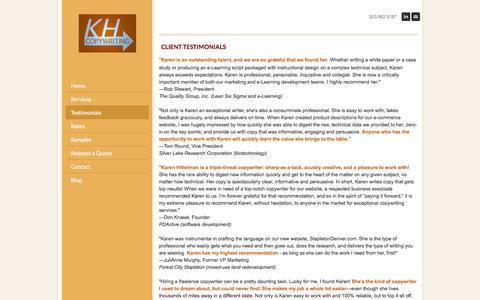 Screenshot of Testimonials Page khcopywriting.com - Karen Hittelman, freelance copywriter TESTIMONIALS - KAREN HITTELMAN  Freelance Copywriter - captured Oct. 6, 2014