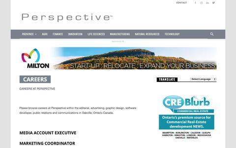 Screenshot of Jobs Page perspective.ca - Careers - Perspective - captured Oct. 22, 2018