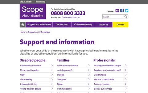 Screenshot of Support Page scope.org.uk - Services and information - Disability charity Scope UK - captured Sept. 19, 2014