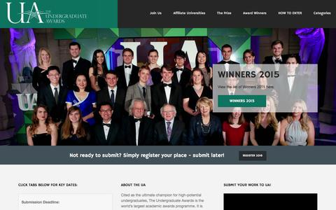 Screenshot of Home Page undergraduateawards.com - Undergraduate Awards - captured Jan. 19, 2016