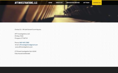 Screenshot of Contact Page weebly.com - Contact Us - AFT Investigations, LLC - captured Sept. 17, 2014