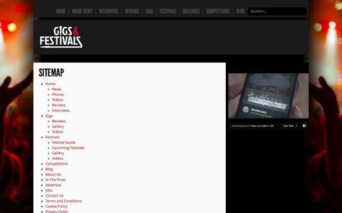 Screenshot of Site Map Page gigsandfestivals.co.uk - Sitemap - captured Sept. 19, 2014