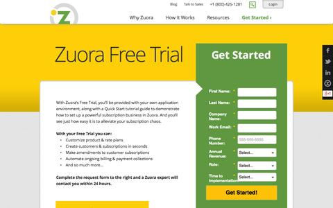 Screenshot of Trial Page zuora.com - Free Trial | Zuora - captured Sept. 17, 2014