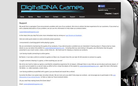 Screenshot of Support Page digitaldnagames.com - Support - captured Sept. 30, 2014
