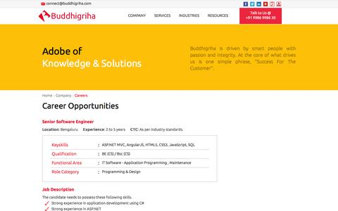 Screenshot of Jobs Page buddhigriha.com - Buddhigriha Careers - Opportunities in Information Technology - captured Feb. 8, 2016