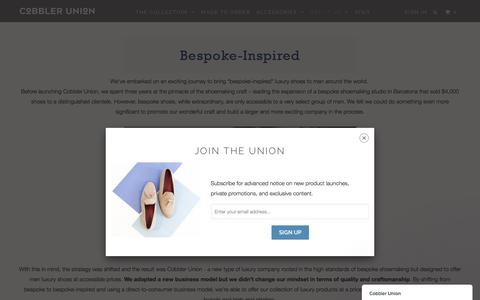 Screenshot of About Page cobbler-union.com - BESPOKE-INSPIRED - Cobbler Union - captured May 19, 2017