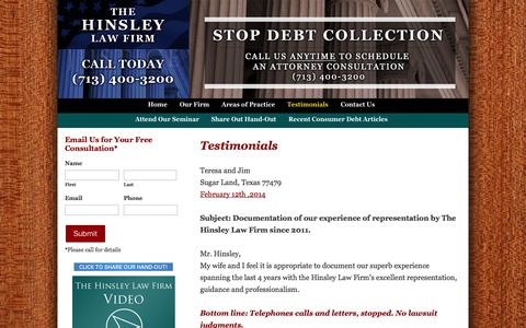 Screenshot of Testimonials Page consumersdefense.com - Testimonials :: The Hinsley Law Firm - captured Oct. 2, 2014