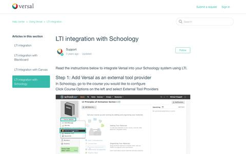 Screenshot of Support Page versal.com - LTI integration with Schoology – Help center - captured Dec. 3, 2019
