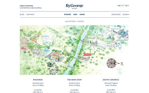 Screenshot of Locations Page bygeorgeaustin.com - Locations + Hours – ByGeorge | Austin, TX - captured Feb. 8, 2016